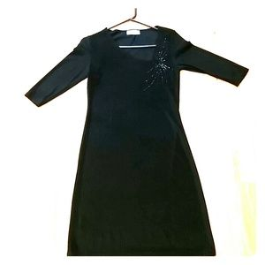 Half sleeve sparkly black dress